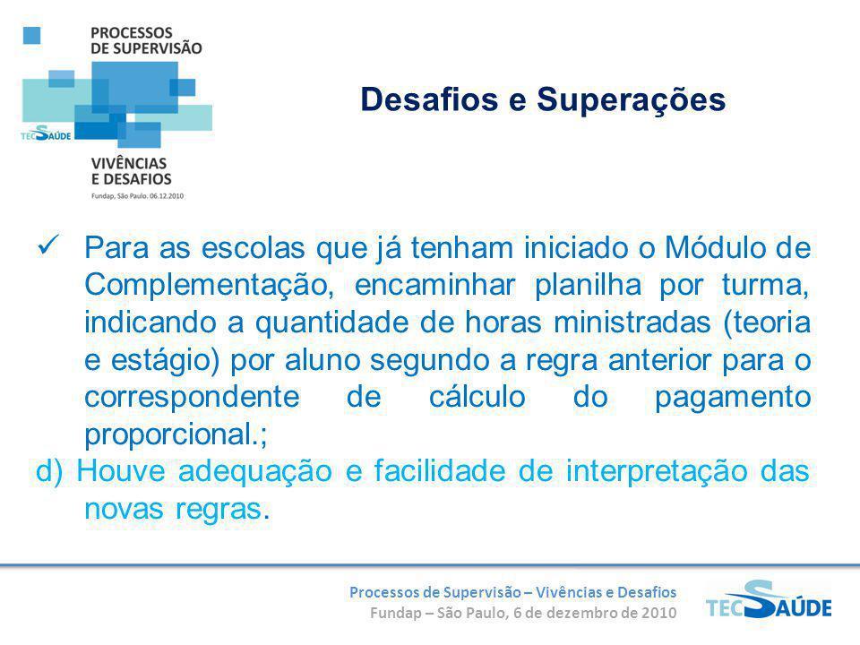 Processos de Supervisão – Vivências e Desafios Fundap – São Paulo, 6 de dezembro de 2010 Para as escolas que já tenham iniciado o Módulo de Complement