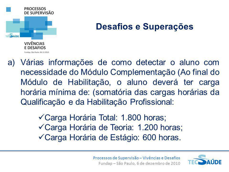 Processos de Supervisão – Vivências e Desafios Fundap – São Paulo, 6 de dezembro de 2010 a)Várias informações de como detectar o aluno com necessidade