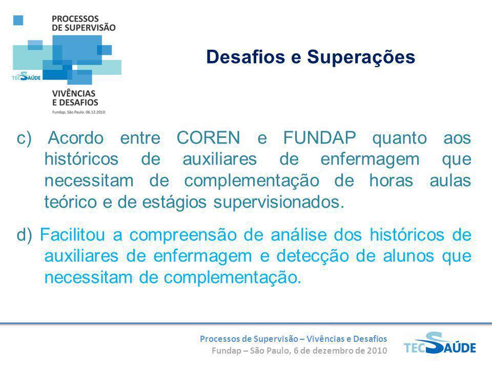 Processos de Supervisão – Vivências e Desafios Fundap – São Paulo, 6 de dezembro de 2010 c) Acordo entre COREN e FUNDAP quanto aos históricos de auxil