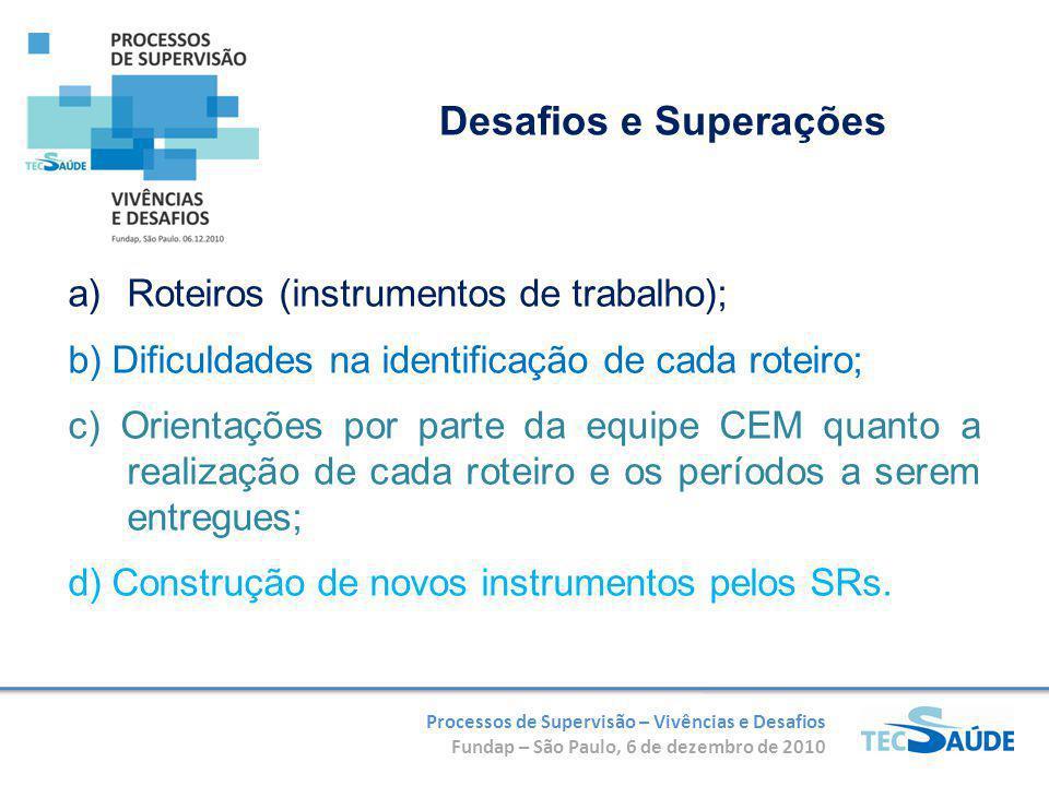 Processos de Supervisão – Vivências e Desafios Fundap – São Paulo, 6 de dezembro de 2010 a)Roteiros (instrumentos de trabalho); b) Dificuldades na ide