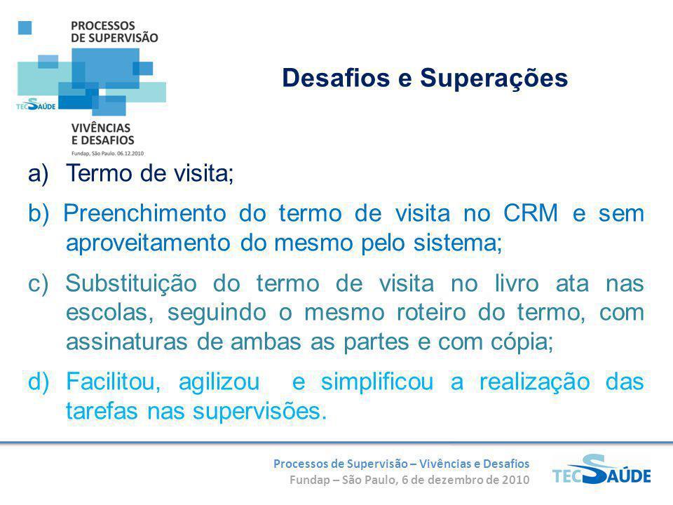 Processos de Supervisão – Vivências e Desafios Fundap – São Paulo, 6 de dezembro de 2010 a)Termo de visita; b) Preenchimento do termo de visita no CRM