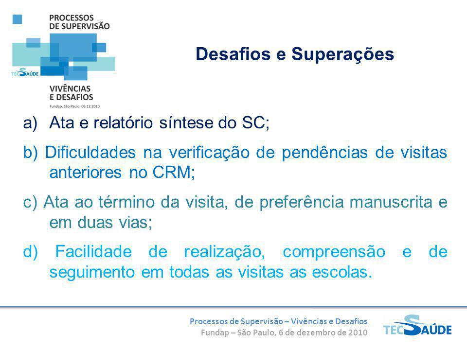 Processos de Supervisão – Vivências e Desafios Fundap – São Paulo, 6 de dezembro de 2010 a)Ata e relatório síntese do SC; b) Dificuldades na verificaç