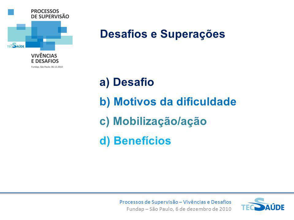 Processos de Supervisão – Vivências e Desafios Fundap – São Paulo, 6 de dezembro de 2010 Desafios e Superações a) Desafio b) Motivos da dificuldade c) Mobilização/ação d) Benefícios