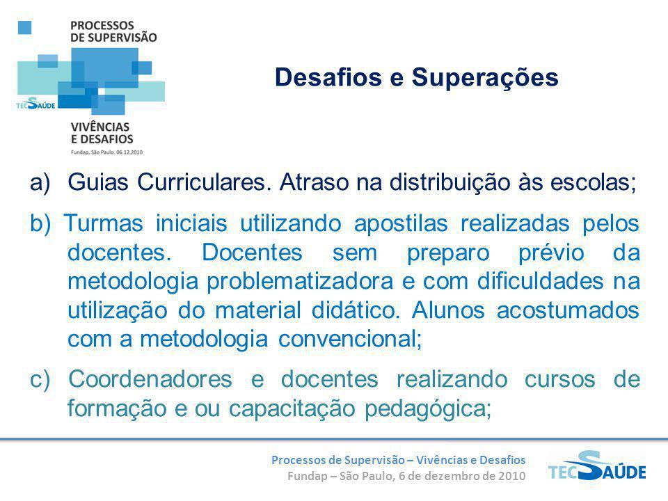 Processos de Supervisão – Vivências e Desafios Fundap – São Paulo, 6 de dezembro de 2010 a)Guias Curriculares. Atraso na distribuição às escolas; b) T