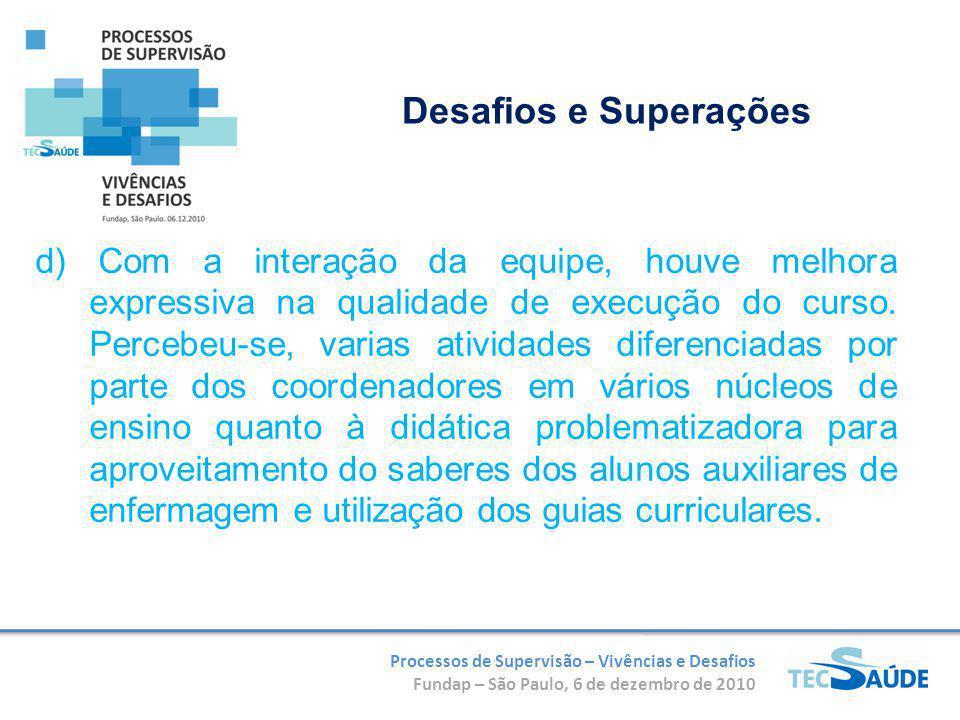 Processos de Supervisão – Vivências e Desafios Fundap – São Paulo, 6 de dezembro de 2010 d) Com a interação da equipe, houve melhora expressiva na qualidade de execução do curso.
