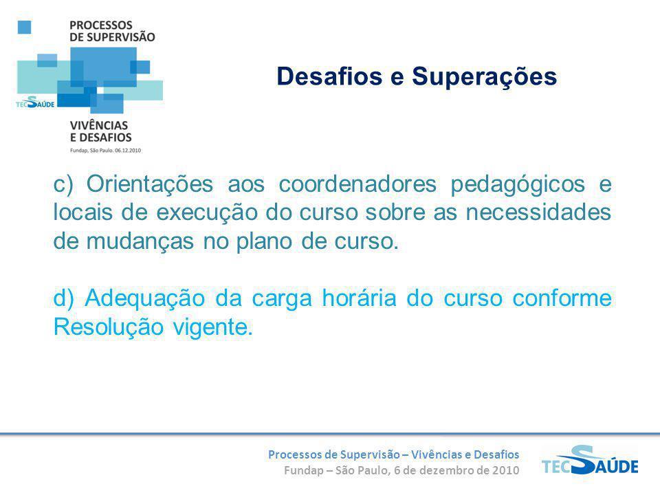 Processos de Supervisão – Vivências e Desafios Fundap – São Paulo, 6 de dezembro de 2010 c) Orientações aos coordenadores pedagógicos e locais de execução do curso sobre as necessidades de mudanças no plano de curso.