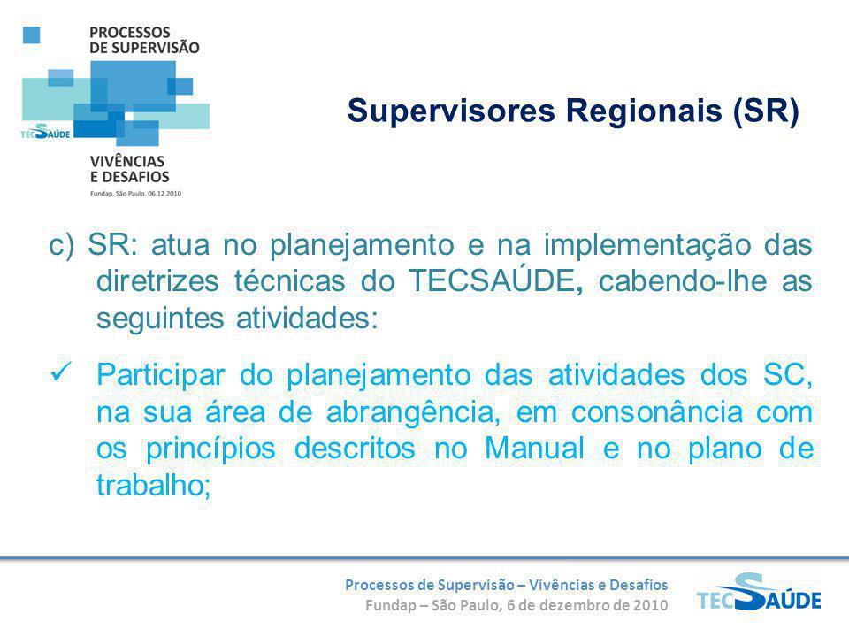 Processos de Supervisão – Vivências e Desafios Fundap – São Paulo, 6 de dezembro de 2010 c) SR: atua no planejamento e na implementação das diretrizes