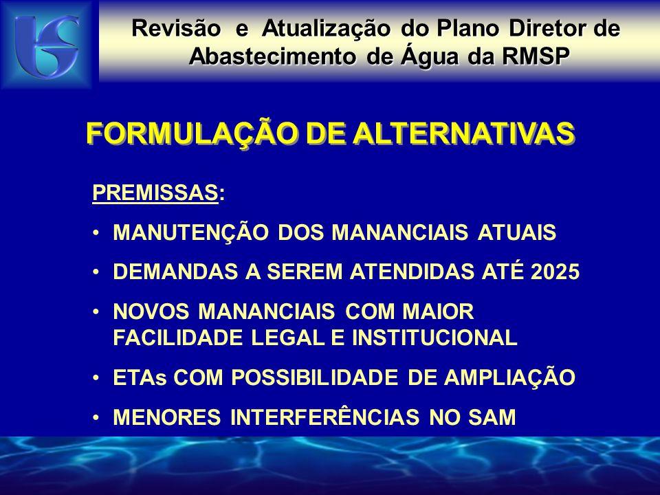 Revisão e Atualização do Plano Diretor de Abastecimento de Água da RMSP FORMULAÇÃO DE ALTERNATIVAS PREMISSAS: MANUTENÇÃO DOS MANANCIAIS ATUAIS DEMANDA