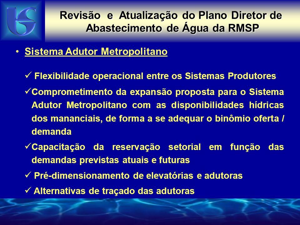 Revisão e Atualização do Plano Diretor de Abastecimento de Água da RMSP PONTOS CRÍTICOS DO SAM ATUAL Sistema Adutor Metropolitano Flexibilidade operac