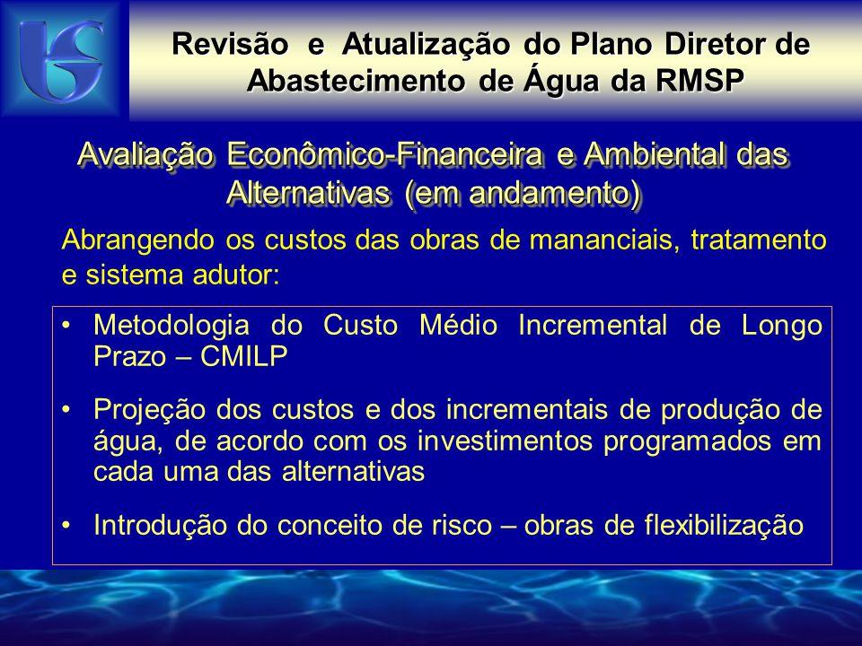 Avaliação Econômico-Financeira e Ambiental das Alternativas (em andamento) Metodologia do Custo Médio Incremental de Longo Prazo – CMILP Projeção dos