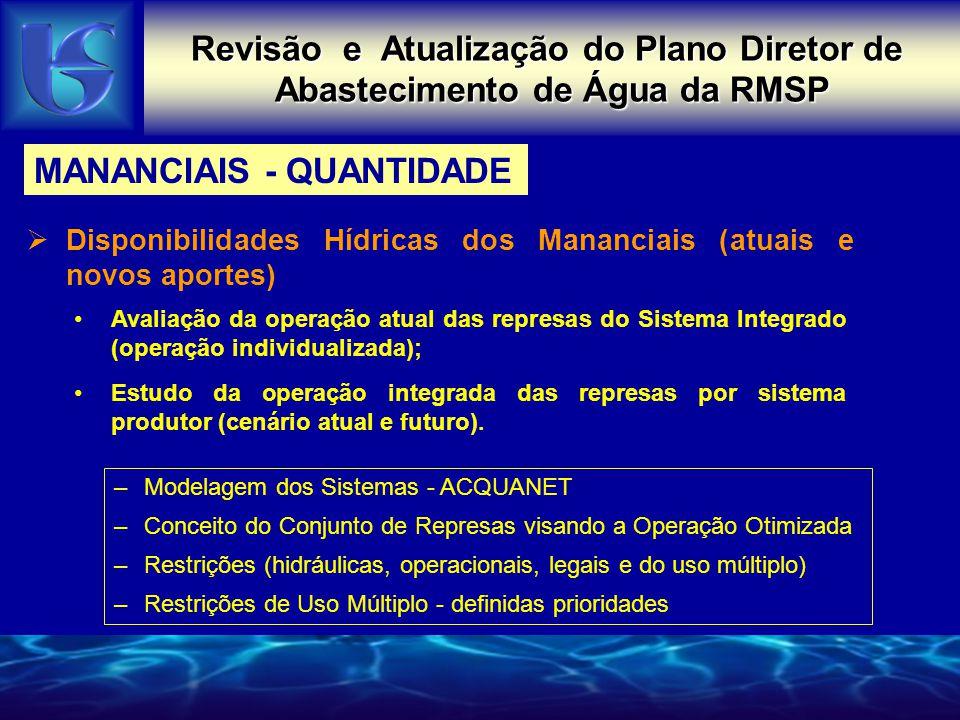 Revisão e Atualização do Plano Diretor de Abastecimento de Água da RMSP Disponibilidades Hídricas dos Mananciais (atuais e novos aportes) –Modelagem d