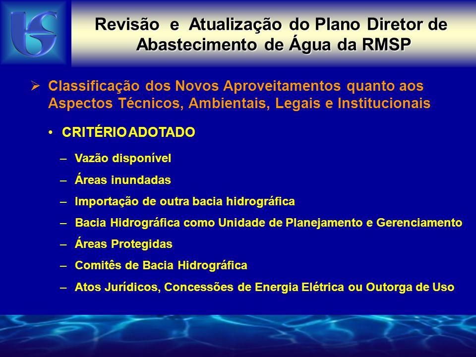 Revisão e Atualização do Plano Diretor de Abastecimento de Água da RMSP RESULTADO DA CLASSIFICAÇÃO DOS POSSÍVEIS APORTES ManancialPontuaçãoVazão (m³/s) Alto Tietê (complementação)0,85,6 Braço da Billings - Rio Pequeno0,93,0 Juquiá - Juquitiba1,24,7 Itatinga - Itapanhaú2,14,9 Capivari2,92,1 São Lourenço4> 30 Paraíba do Sul5indefinida Sorocaba5indefinida