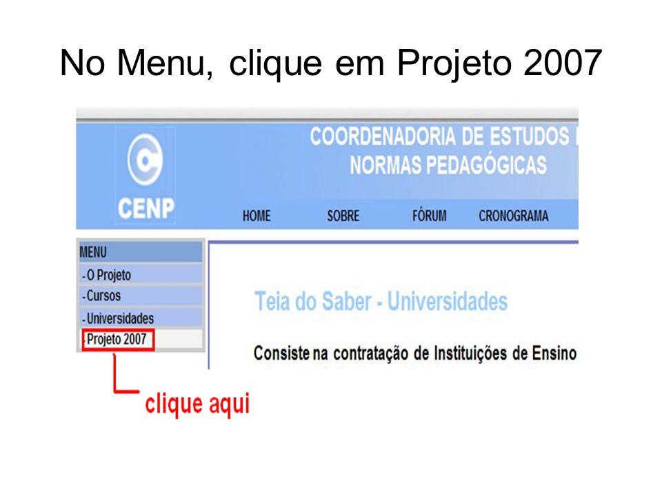 No Menu, clique em Projeto 2007