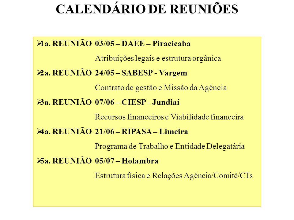 CALENDÁRIO DE REUNIÕES 1a.