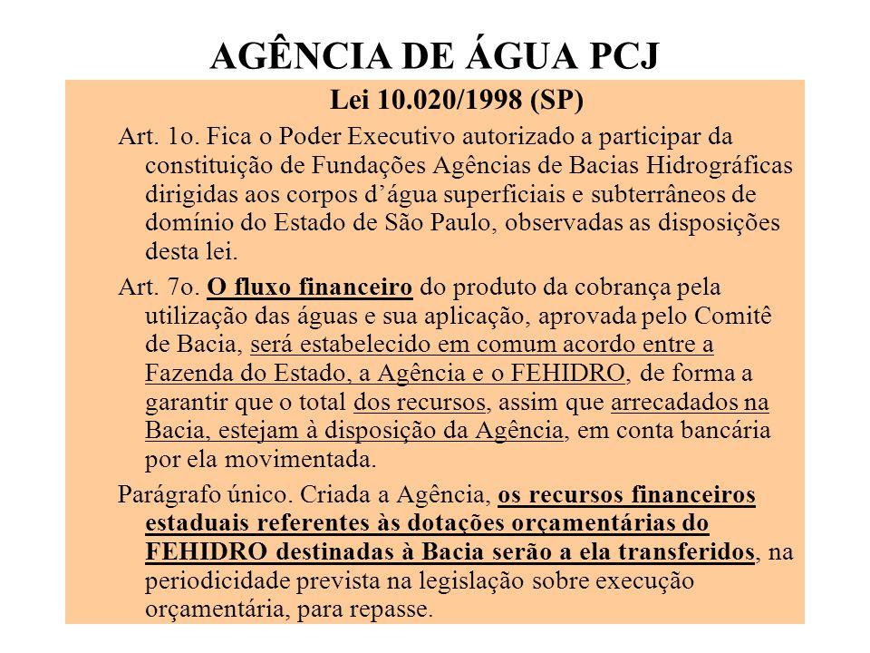 AGÊNCIA DE ÁGUA PCJ Lei 10.020/1998 (SP) Art.1o.
