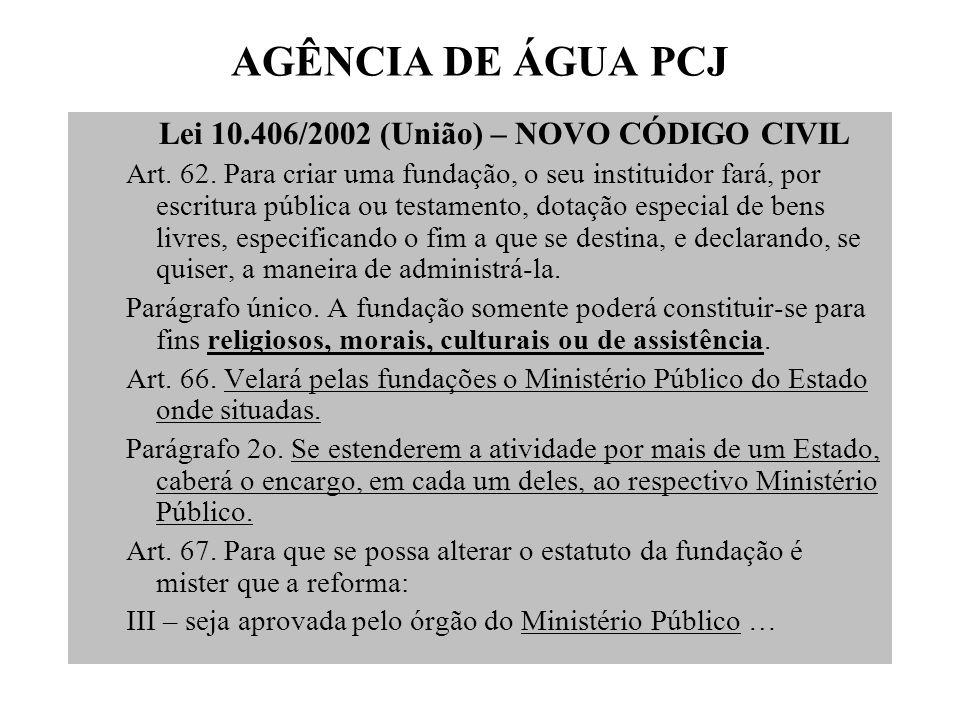 AGÊNCIA DE ÁGUA PCJ Lei 13.199/1999 (MG) Art.37.