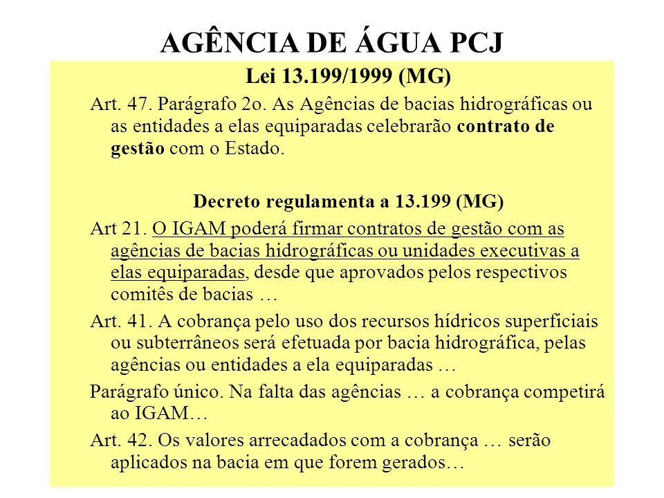 AGÊNCIA DE ÁGUA PCJ Lei 13.199/1999 (MG) Art.47. Parágrafo 2o.