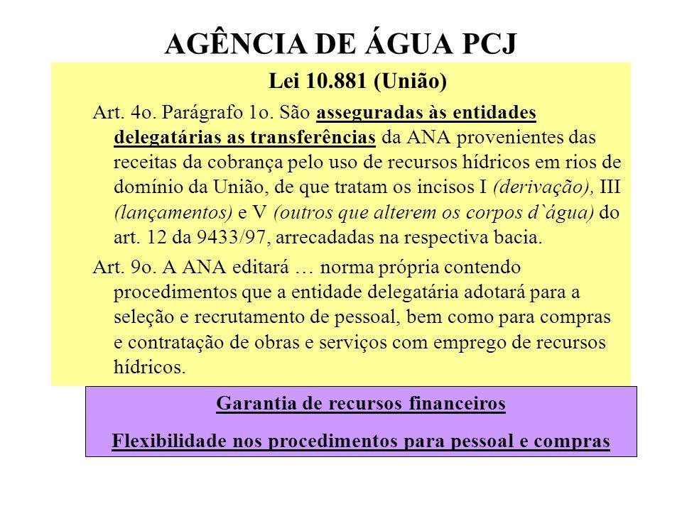 AGÊNCIA DE ÁGUA PCJ Lei 10.881 (União) Art.4o. Parágrafo 1o.