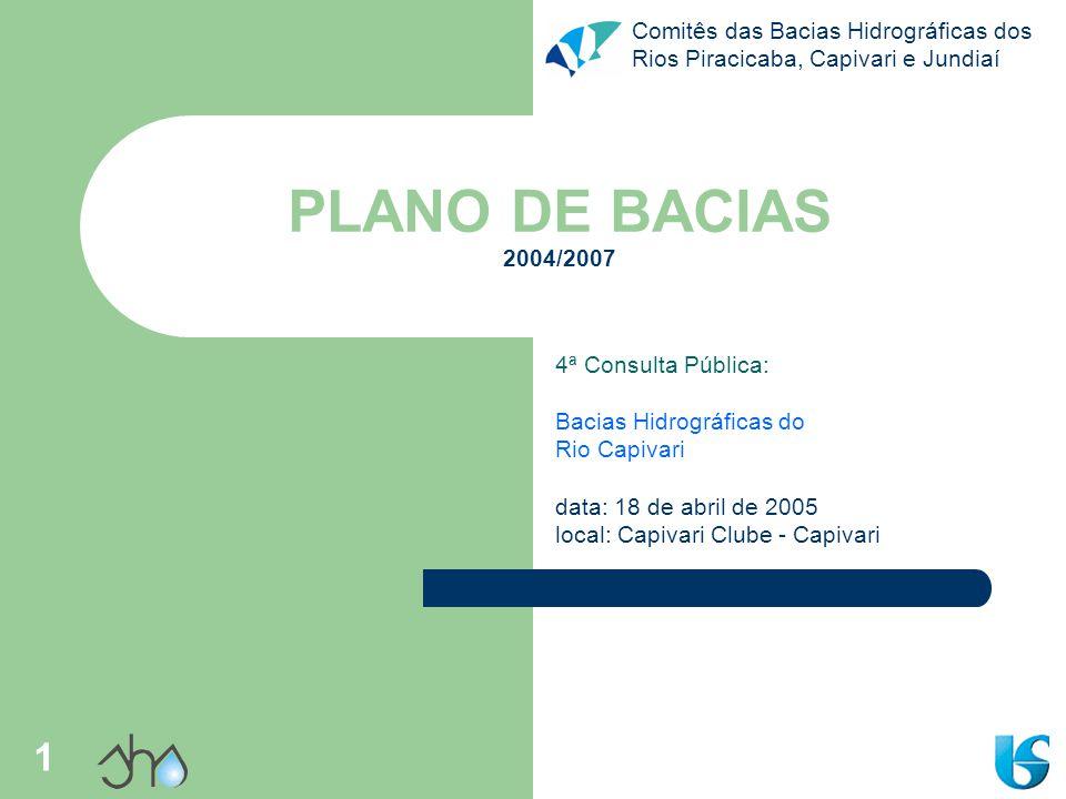 Comitês das Bacias Hidrográficas dos Rios Piracicaba, Capivari e Jundiaí 12 Rio Capivari Caracterização geral nascente entre Jundiaí/SP e Itatiba/SP; foz no rio Tietê, em Tietê/SP; área da bacia – 1.620,92 km² – 10,6% das bacias PCJ