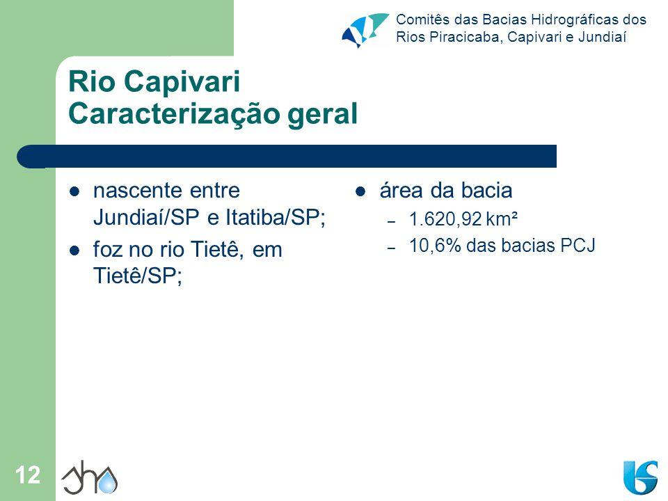 Comitês das Bacias Hidrográficas dos Rios Piracicaba, Capivari e Jundiaí 12 Rio Capivari Caracterização geral nascente entre Jundiaí/SP e Itatiba/SP;