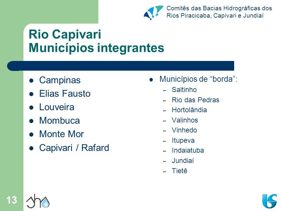 Comitês das Bacias Hidrográficas dos Rios Piracicaba, Capivari e Jundiaí 13 Rio Capivari Municípios integrantes Campinas Elias Fausto Louveira Mombuca