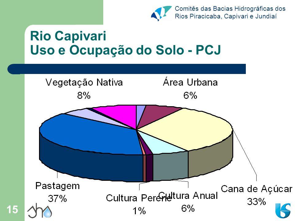 Comitês das Bacias Hidrográficas dos Rios Piracicaba, Capivari e Jundiaí 15 Rio Capivari Uso e Ocupação do Solo - PCJ