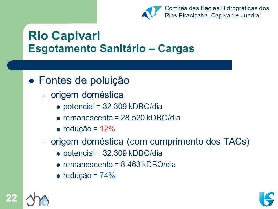Comitês das Bacias Hidrográficas dos Rios Piracicaba, Capivari e Jundiaí 22 Rio Capivari Esgotamento Sanitário – Cargas Fontes de poluição – origem do