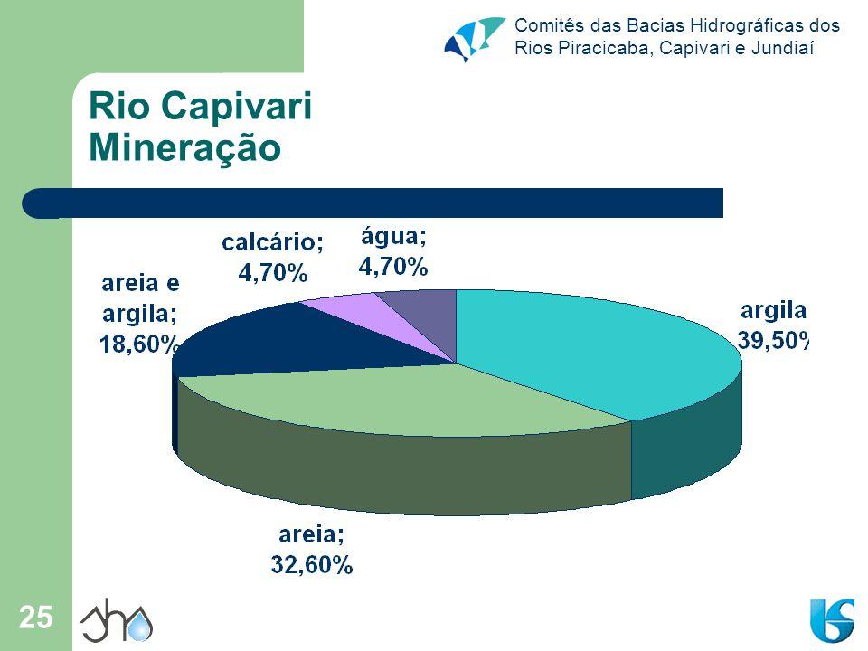 Comitês das Bacias Hidrográficas dos Rios Piracicaba, Capivari e Jundiaí 25 Rio Capivari Mineração