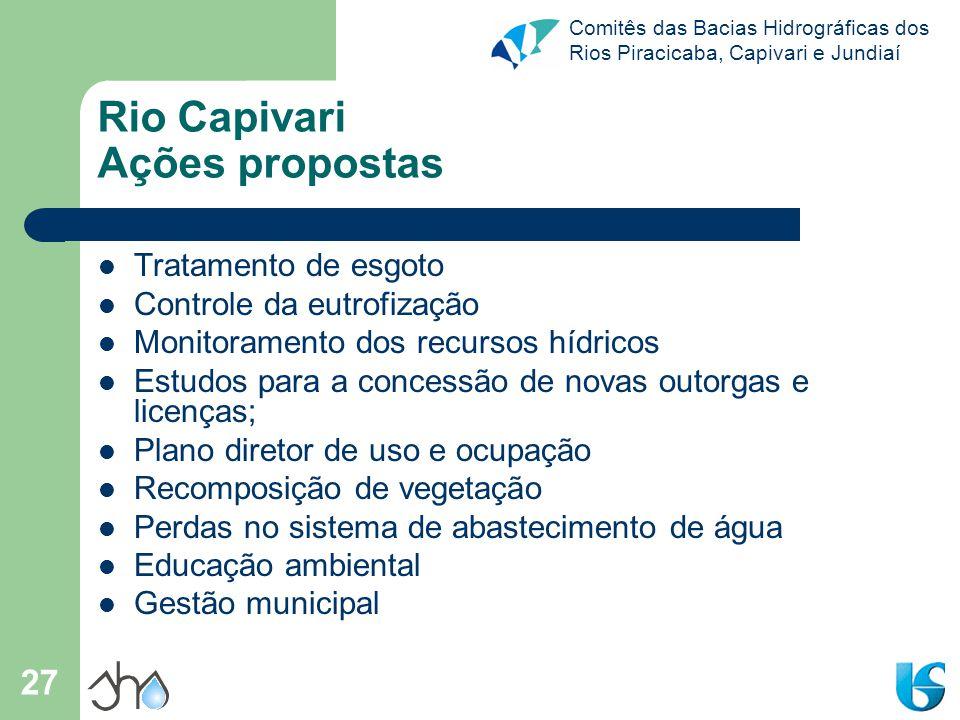 Comitês das Bacias Hidrográficas dos Rios Piracicaba, Capivari e Jundiaí 27 Rio Capivari Ações propostas Tratamento de esgoto Controle da eutrofização