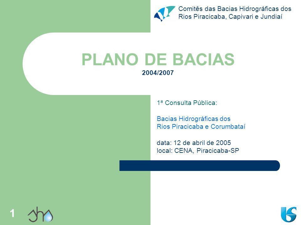 Comitês das Bacias Hidrográficas dos Rios Piracicaba, Capivari e Jundiaí 1 PLANO DE BACIAS 2004/2007 1ª Consulta Pública: Bacias Hidrográficas dos Rios Piracicaba e Corumbataí data: 12 de abril de 2005 local: CENA, Piracicaba-SP