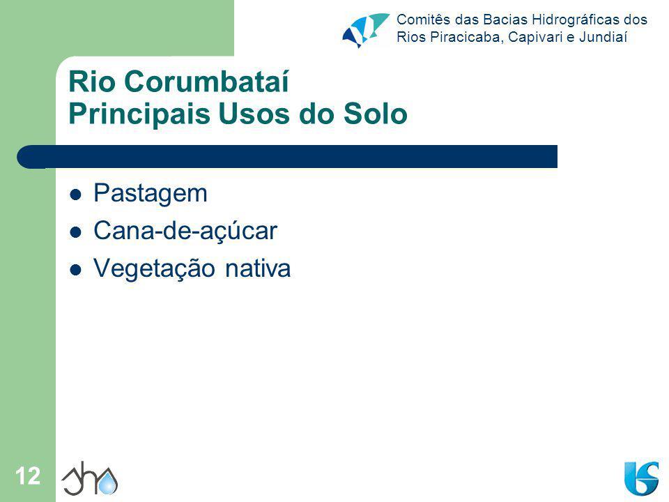Comitês das Bacias Hidrográficas dos Rios Piracicaba, Capivari e Jundiaí 12 Rio Corumbataí Principais Usos do Solo Pastagem Cana-de-açúcar Vegetação n