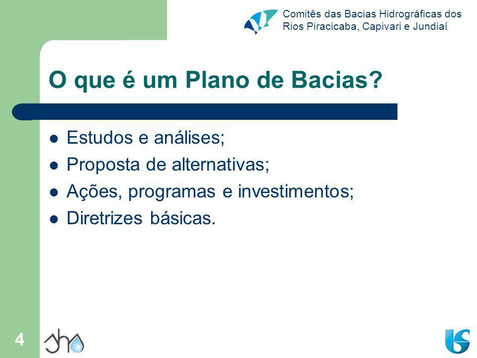 Comitês das Bacias Hidrográficas dos Rios Piracicaba, Capivari e Jundiaí 4 O que é um Plano de Bacias.