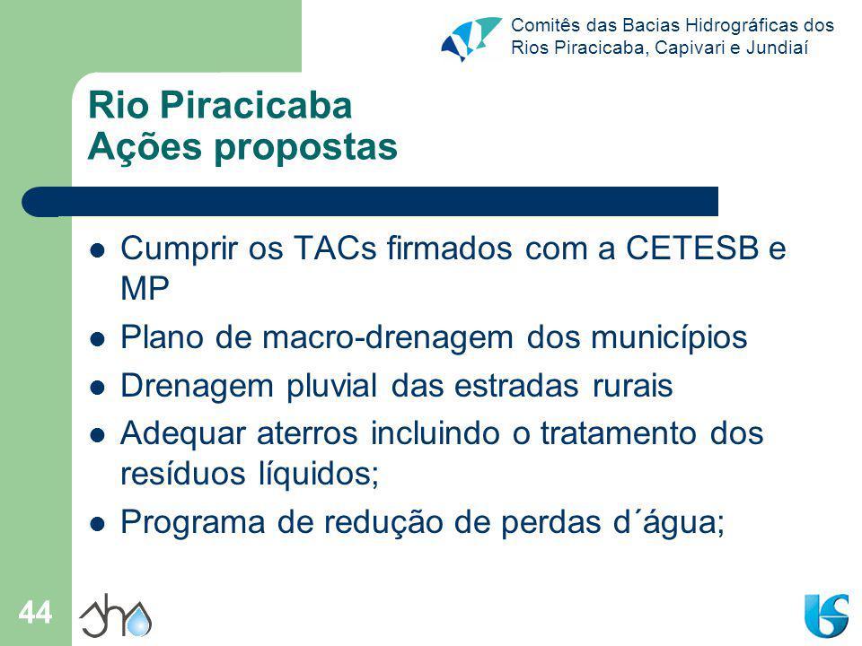 Comitês das Bacias Hidrográficas dos Rios Piracicaba, Capivari e Jundiaí 44 Rio Piracicaba Ações propostas Cumprir os TACs firmados com a CETESB e MP