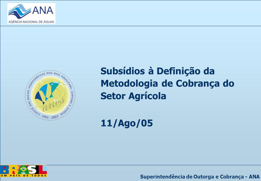Superintendência de Outorga e Cobrança - ANA Subsídios à Definição da Metodologia de Cobrança do Setor Agrícola 11/Ago/05