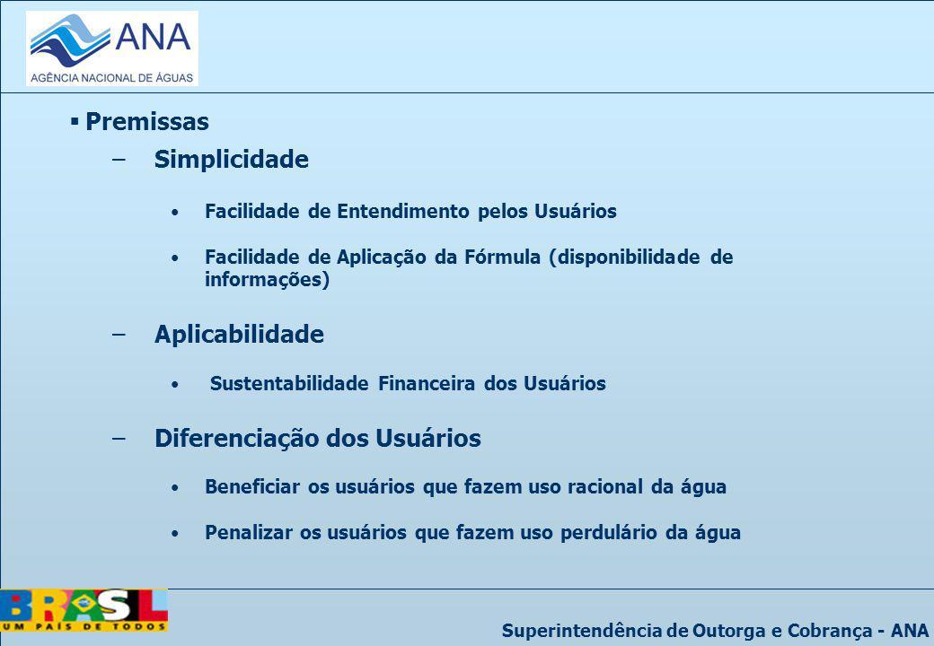 Superintendência de Outorga e Cobrança - ANA Premissas –Simplicidade Facilidade de Entendimento pelos Usuários Facilidade de Aplicação da Fórmula (dis