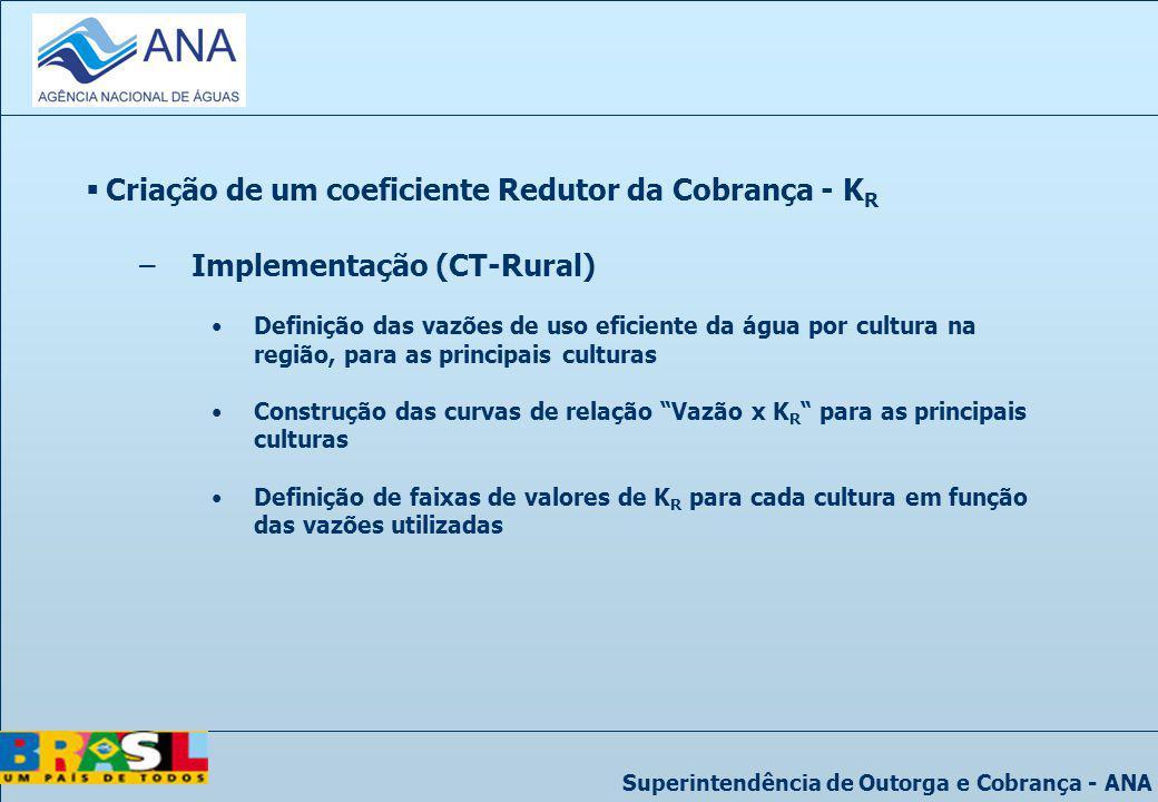 Superintendência de Outorga e Cobrança - ANA Criação de um coeficiente Redutor da Cobrança - K R –Implementação (CT-Rural) Definição das vazões de uso