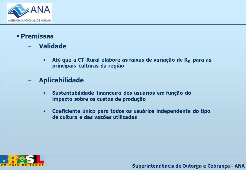 Superintendência de Outorga e Cobrança - ANA Premissas –Validade Até que a CT-Rural elabore as faixas de variação de K R para as principais culturas d