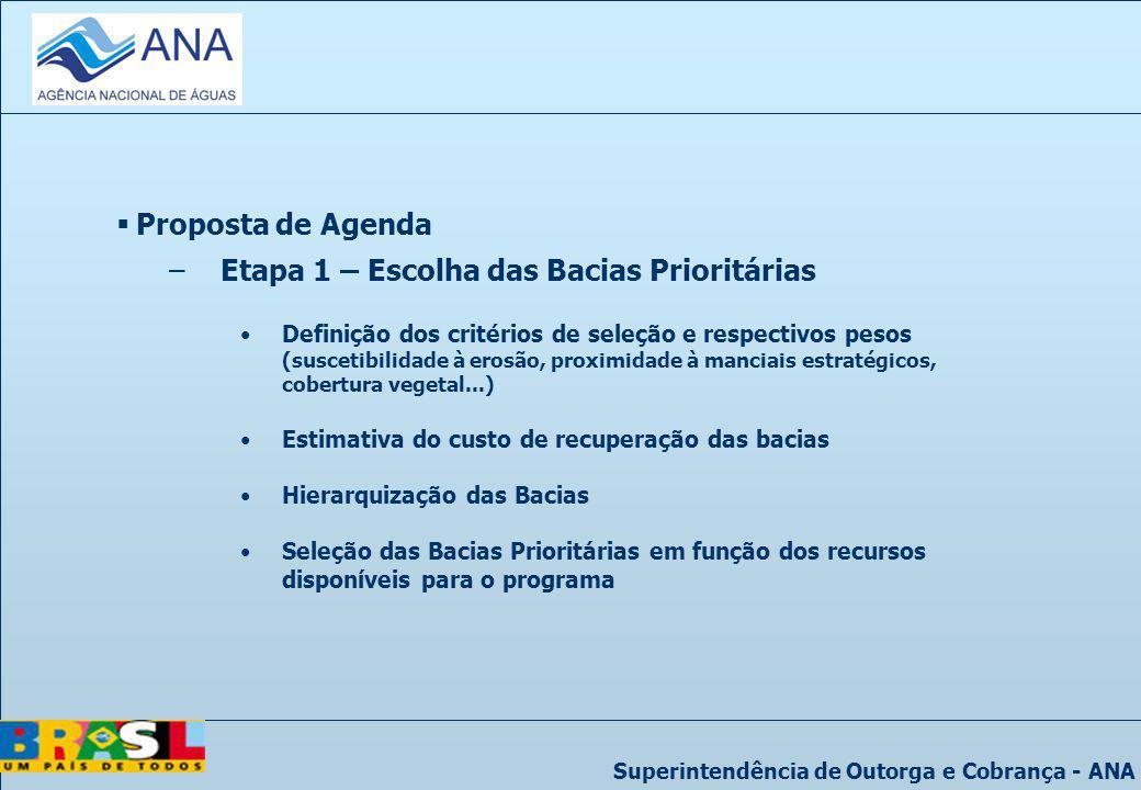 Superintendência de Outorga e Cobrança - ANA Proposta de Agenda –Etapa 1 – Escolha das Bacias Prioritárias Definição dos critérios de seleção e respec