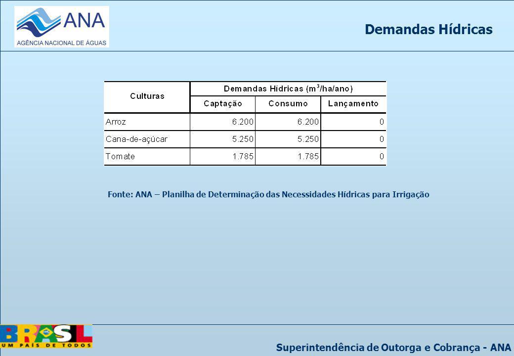 Superintendência de Outorga e Cobrança - ANA Demandas Hídricas Fonte: ANA – Planilha de Determinação das Necessidades Hídricas para Irrigação