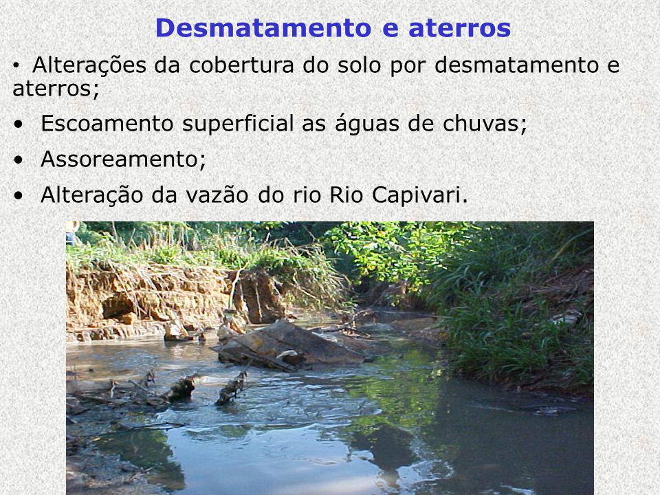 Desmatamento e aterros Alterações da cobertura do solo por desmatamento e aterros; Escoamento superficial as águas de chuvas; Assoreamento; Alteração