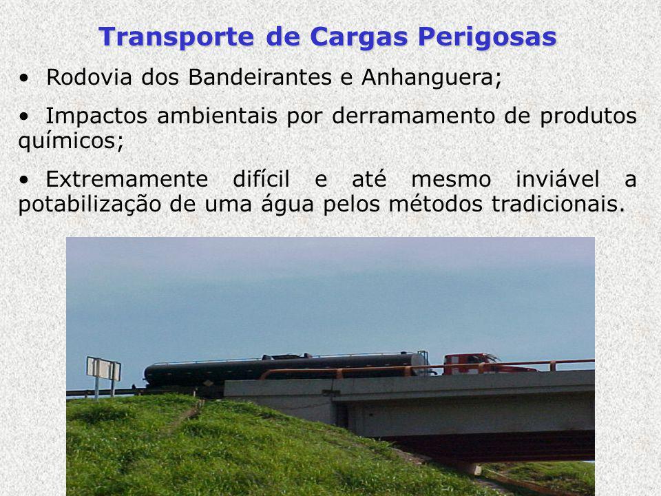 Transporte de Cargas Perigosas Rodovia dos Bandeirantes e Anhanguera; Impactos ambientais por derramamento de produtos químicos; Extremamente difícil