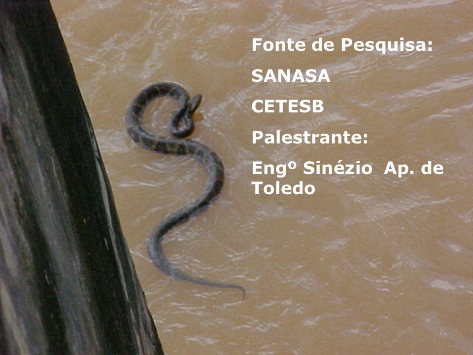 Fonte de Pesquisa: SANASA CETESB Palestrante: Engº Sinézio Ap. de Toledo