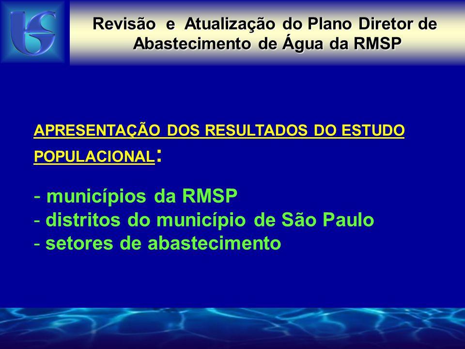 APRESENTAÇÃO DOS RESULTADOS DO ESTUDO POPULACIONAL : - municípios da RMSP - distritos do município de São Paulo - setores de abastecimento Revisão e A