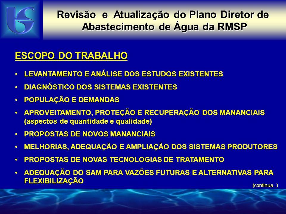 Revisão e Atualização do Plano Diretor de Abastecimento de Água da RMSP ESCOPO DO TRABALHO AVALIAÇÃO E AMPLIAÇÃO DOS SISTEMAS DE RESERVAÇÃO PROPOSTA DE ALTERNATIVAS PARA O SISTEMA INTEGRADO ESCOLHA DA ALTERNATIVA A SER RECOMENDADA PROPOSTAS E RECOMENDAÇÕES PARA OS SISTEMAS ISOLADOS INDICAÇÃO DAS OBRAS A SEREM REALIZADAS Plano de Ação Imediata Planos de Ação de Médio e Longo Prazo ESTUDO AMBIENTAL ( alternativas estudadas e alternativa escolhida) Nota: o PDAA encontra-se em fase de conclusão.