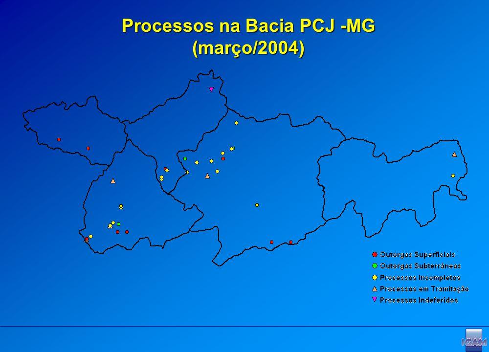 Processos na Bacia PCJ -MG (março/2004)