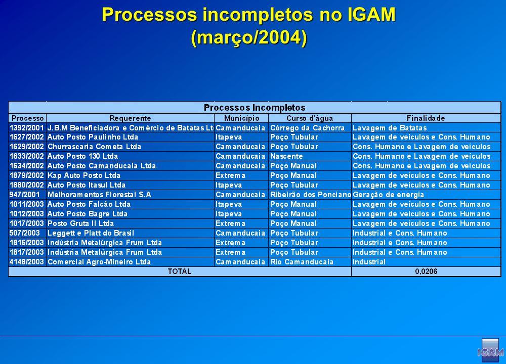Processos incompletos no IGAM (março/2004)