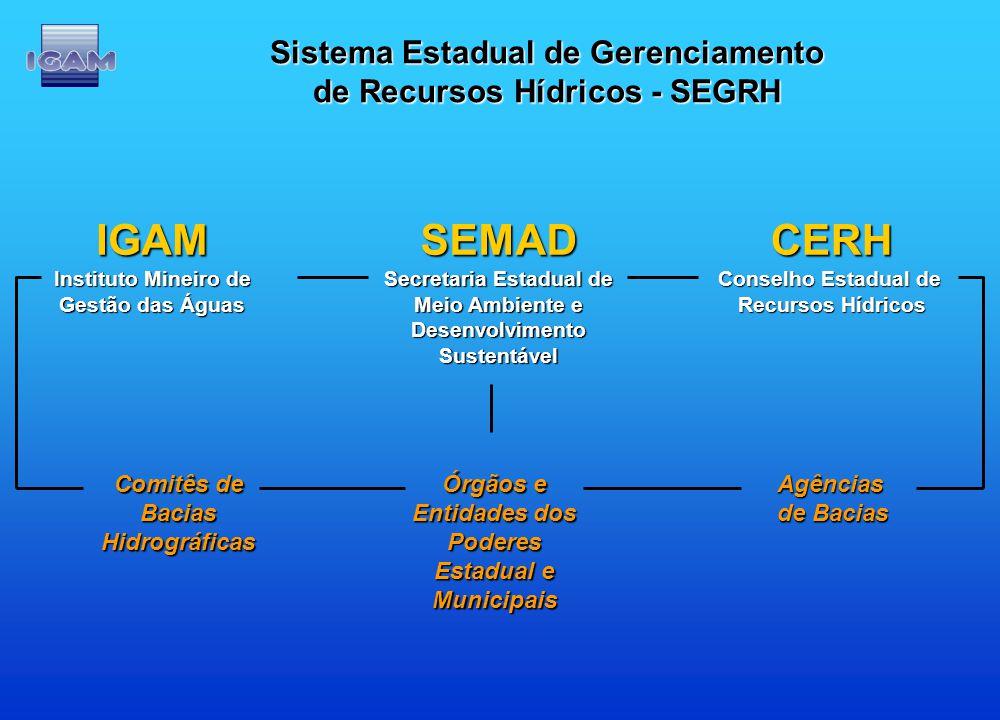 Sistema Estadual de Gerenciamento de Recursos Hídricos - SEGRH SEMAD Secretaria Estadual de Meio Ambiente e DesenvolvimentoSustentávelCERH Conselho Es