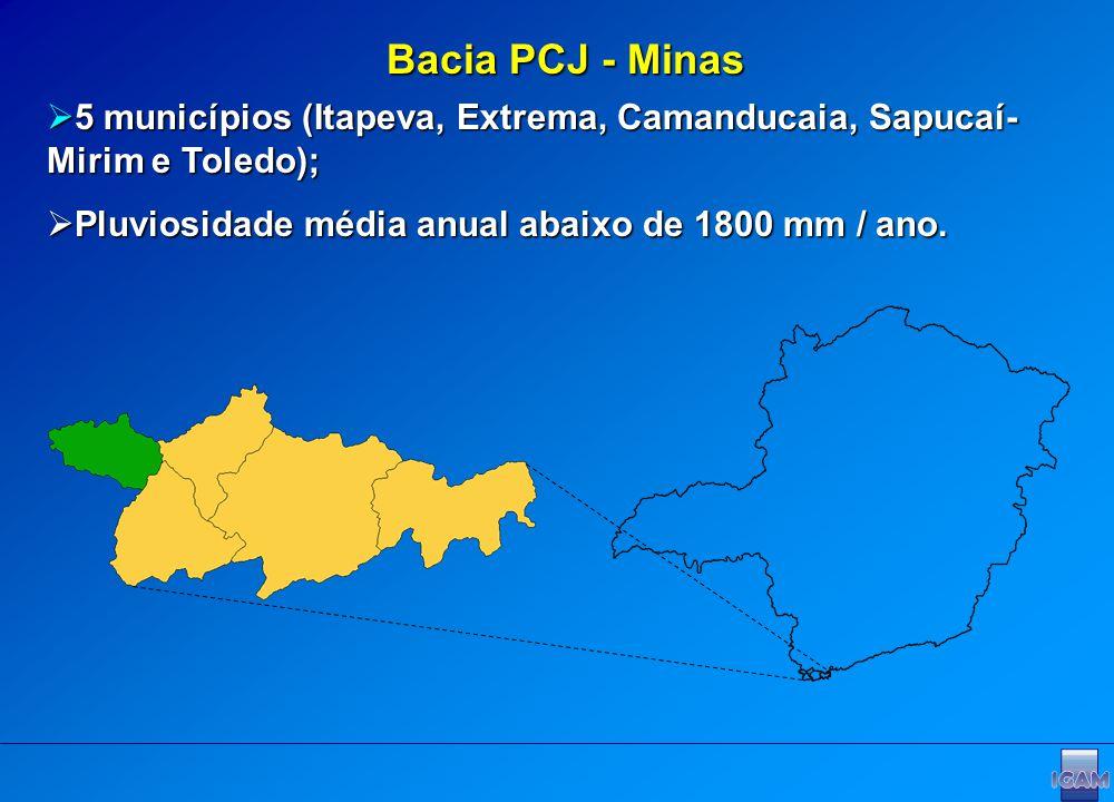 Bacia PCJ - Minas 5 municípios (Itapeva, Extrema, Camanducaia, Sapucaí- Mirim e Toledo); 5 municípios (Itapeva, Extrema, Camanducaia, Sapucaí- Mirim e