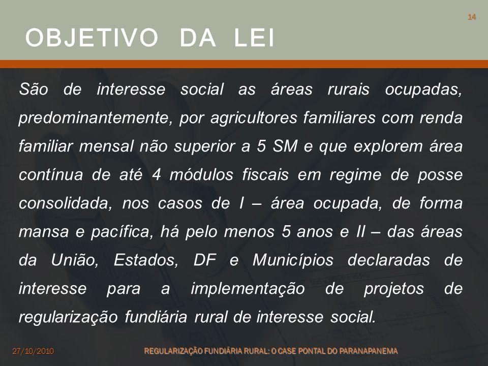 São de interesse social as áreas rurais ocupadas, predominantemente, por agricultores familiares com renda familiar mensal não superior a 5 SM e que e