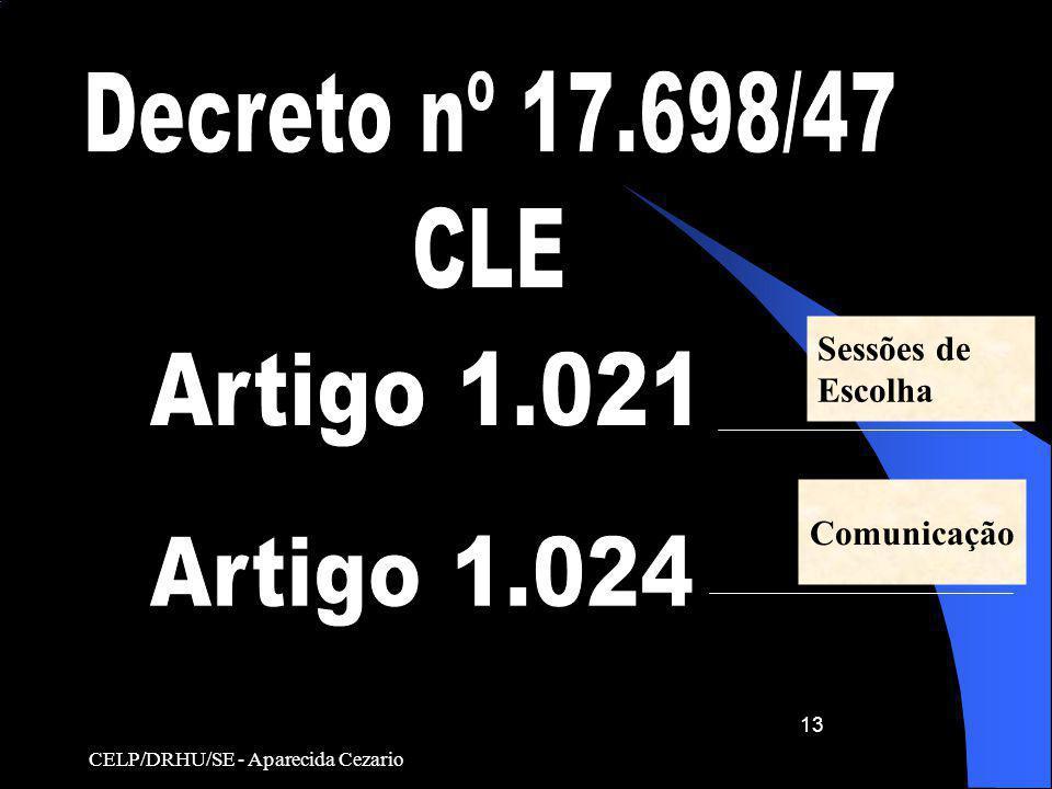 CELP/DRHU/SE - Aparecida Cezario 13 Comunicação Sessões de Escolha